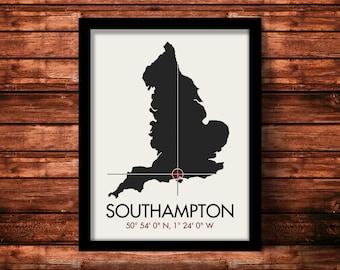 Southampton Map Print   Southampton Map Art   Southampton Print   Southampton Gift   UK Map   11 x 14 Print