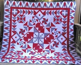 Red White and Blue  King Sampler Pattern