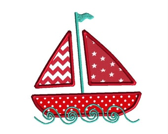 Sailboat Applique Machine Embroidery Design-INSTANT DOWNLOAD