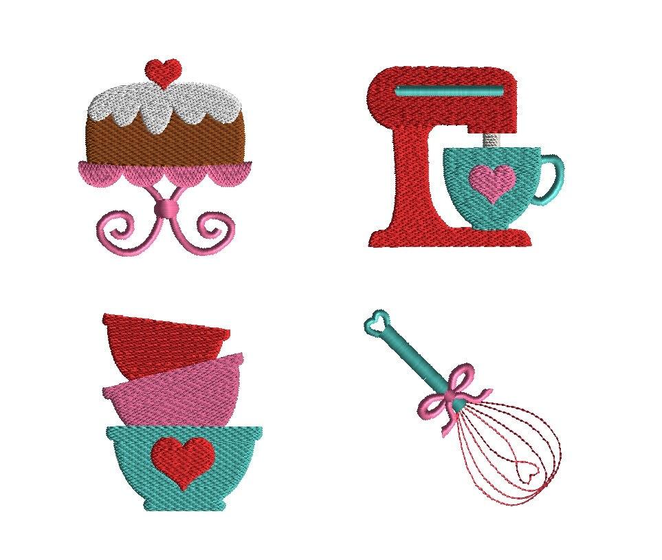 mini kitchen machine embroidery design set instant download