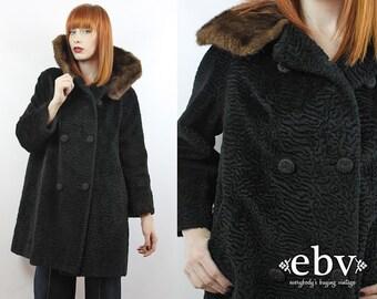 Vintage 60s Black Faux Persian Lamb Fur Coat S M L Xl Faux Curly Lamb Fur Coat Black Fur Coat Double Breasted Coat Black Coat