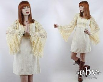 Vintage 70s Cream Lace Angel Sleeve Mini Dress XS S Hippie Dress Boho Wedding Dress Hippie Wedding Dress Hippy Dress Festival Dress