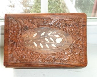 Vintage Hand Carved Box Made in India