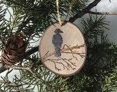 Black Raven Bird | Wood Burned | ASPEN Wood Slice Ornaments | hemp