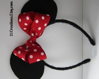 Minnie Mouse Ears Red and White Polkadots Bow
