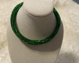 Sparkly Green Herringbone Bracelet