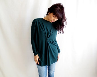 Forest green tunic tshirt with pleats - asymmetrical style mini dress