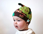 Brown woodland hat baby fox green trees beanie jersey stretch fabric childrens toddler knotted top mushroom toadstool woods animal retro hat