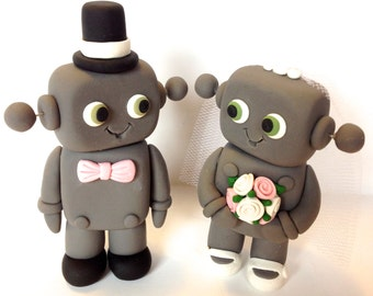 Robot Wedding Cake Topper - Choose Your Colors