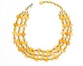 Yellow Necklace, Glass Bead Necklace, Multi Strand, Graduated, Flat Bead, Triple Strand, Aurora Borealis, West Germany, Vintage Jewelry