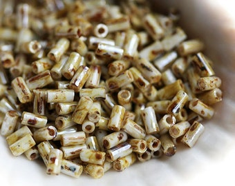 TOHO Bugle Seed beads, 3mm, Hybrid Opaque Luster Picasso, Y181,  japanese, glass beads - 6g - S427