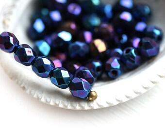 4mm Dark Blue Czech glass beads - Iris Blue - fire polished round spacers - 50Pc - 1611