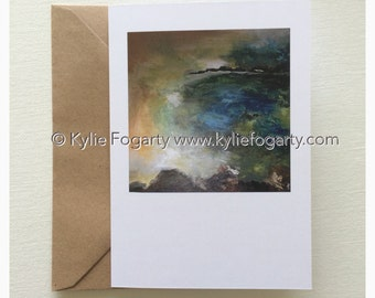 Fine Art Greeting Card, A6 Sized, Beach, Contemporary Landscape, Seascape, Kylie Fogarty, Blank Greeting Card
