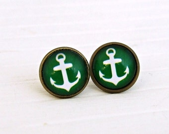Green Anchor Earrings .. anchor studs, green earrings, nautical earrings, small green studs