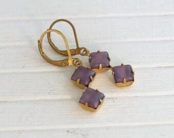 Purple Moonglow Earrings ..  double stone earrings, lavender earrings, vintage glass earrings, dark lilac earrings