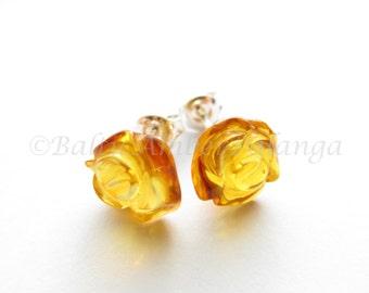 Baltic Amber Honey Color Rose Earrings