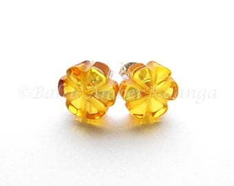 Baltic Amber Honey Color Flower Earrings