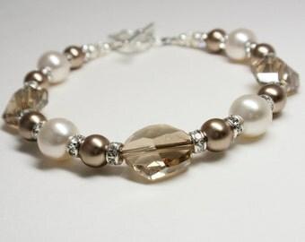 Golden Shadow Swarovski Crystal with Creamrose & Bronze Swarovski Pearl Bracelet - Handmade Classic Swarovski Beaded Bracelet