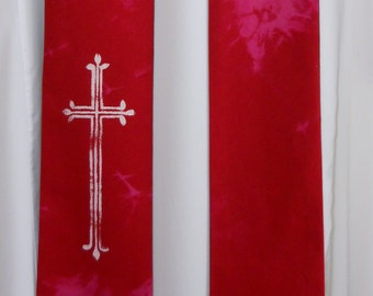 Red Cotton Clerical Stole, Cream stenciled cross, Shibori
