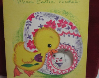 Sweet mid century die cut 1959 easter greeting card duckling looks at rabbit inside decorated sugar easter egg