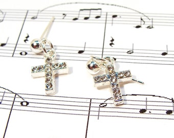 Girls Dainty and Sparkly Crystal Cross Earrings