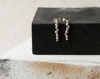 Short silver earrings - Silver balls Earrings -  Silver post earrings - stud earrings