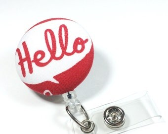 Hello Badge Reel - Red and White Retractable Name Badge  - Name Badge Holder - Nurse Badge Holder  - Name Tag - Swivel Retractable ID Badge