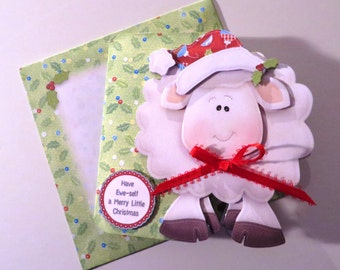 Hand cut & layered lamb christmas card