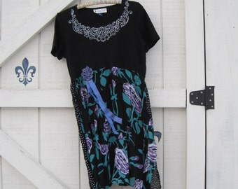 Bohemian dress, lagan style black, black floral, rose romantic, cowgirl gypsy, M, black purple rose, Eco upcycled clothing