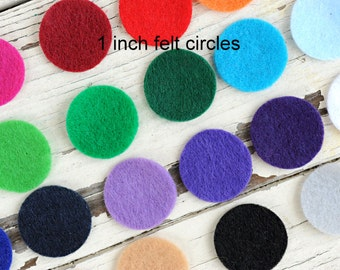 1 Inch Felt Circles - Die Cut Felt Circles - You Choose Colors and Quantity - Circle Backing