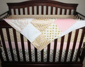 Baby Girl Crib Bedding - Glitz Confection Gold Chevron, White Gold Dot, and Blush Bedding Ensemble with Patchwork or Blanket
