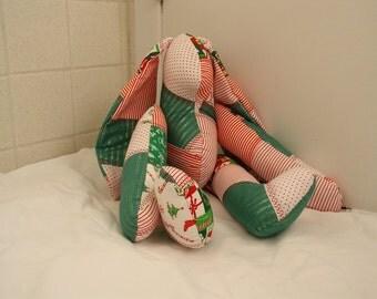 Holiday soft sculpture bunny, stuffed Christmas rabbit