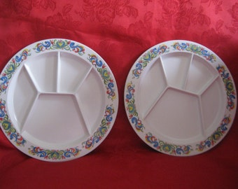 Vintage Set of 2 Kenro Decorated Sectioned Plates
