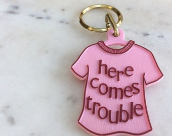 Vintage Here Comes Trouble 1970's T-Shirt Keychain
