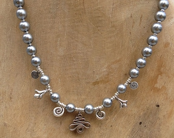 Silver Lining Necklace - Glass Pearl & Sterling Silver - Handmade Women's Jewelry