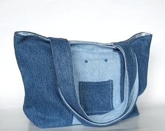 Upcycled Denim Tote Denim Purse Two Toned Purse Blue Denim Bag Upcycled Bag