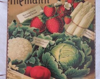Vintage Seed Catalog Art wooden book