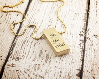 Gold bar necklace - Be you tiful necklace - Personalized jewelry - Inspirational quote - Rustic jewelry -  Brass bar - Gift for her