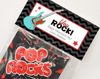 Personalized Valentine's Day Treat Bag Topper - You Rock - DIY Printable Digital File