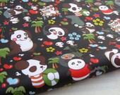 """3096B  - 1 yard Vinyl Waterproof Fabric - Pandas (black)  - 57""""x36"""""""