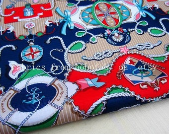 """3265A  - 1 yard Vinyl Waterproof Fabric - Rope and flower (blue and red) - 57""""x36"""""""