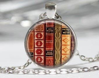 Book Necklace Book Jewelry Book Lovers Pendant Antique Book Necklace