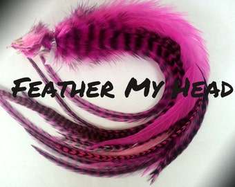 """15 Pc Wide Accent Feather Hair Extenions 7"""" to 11"""" Inches Long Pink Pack"""
