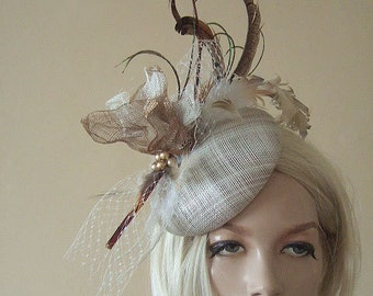 """Gold, Brown, Ivory Feathered Button Fascinator Hatinator Hat Woodland Tones Ascot """"Faustine"""" MN173 Rustic Wedding Ideas Mother of the Bride"""
