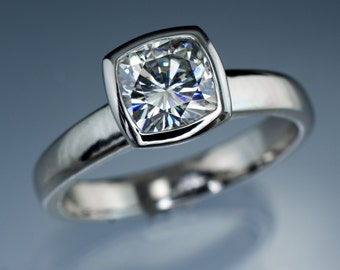 Moissanite Bezel Set Cushion Solitaire Engagement Ring in Palladium - Alternative Engagement Ring, Forever Brilliant or One Moissanite