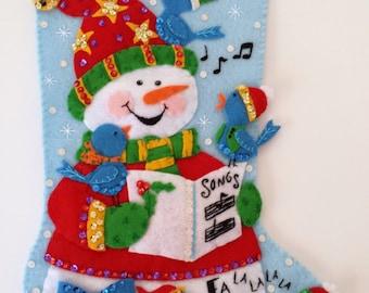 Modern Festive Blue Birds and Snowman Christmas Holiday Stocking