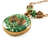 Orgone Energy Small Reversible Pendant in Copper with Malachite Gemstones - Orgone Jewelry - Artisan Jewelry