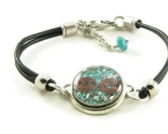Orgone Energy Bracelet - Leather Friendship Bracelet - Turquoise Gemstone - Celebrity Gift - Artisan Jewelry