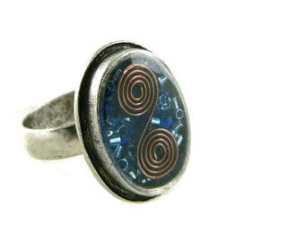 Orgone Energy Ring with Lapis Lazuli - Framed Oval Cocktail Ring - Adjustable Ring - Orgone Energy Jewelry - Artisan Jewelry