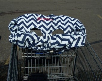 Chevron shopping cart personalized booster seat cover